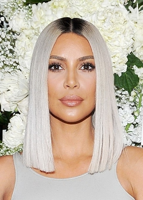 Kim Kardashian Just Revealed A Sleek New Icy Blonde Lob Haircut | Allure Regarding Ice Blonde Lob Hairstyles (View 21 of 25)