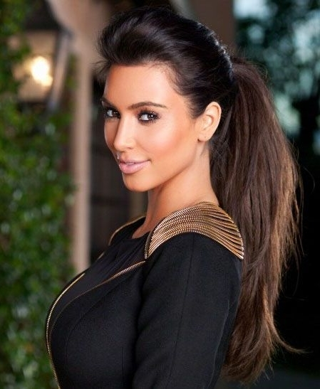 Kim Kardashian Ponytail Glamour Hairstyle Clip In Straight Wrap Regarding Glamorous Pony Hairstyles (View 16 of 25)