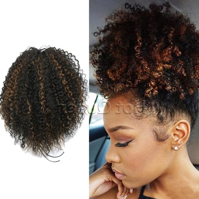 Kinky Curly Ponytail Extension High Quality Highlight Human Ponytail Pertaining To Highlighted Afro Curls Ponytail Hairstyles (View 2 of 25)