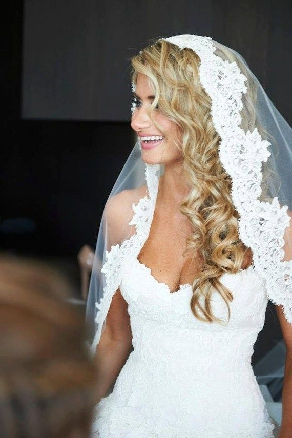 Lace White Wedding Veil With Long Curly Blonde Hair Down | Wedding Pertaining To White Wedding Blonde Hairstyles (View 2 of 25)