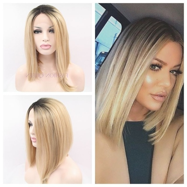 Lady Gaga's Hairstyle Short Hair Bob Wig10 16Inch Dark Root Black With Regard To Rooty Long Bob Blonde Hairstyles (View 21 of 25)