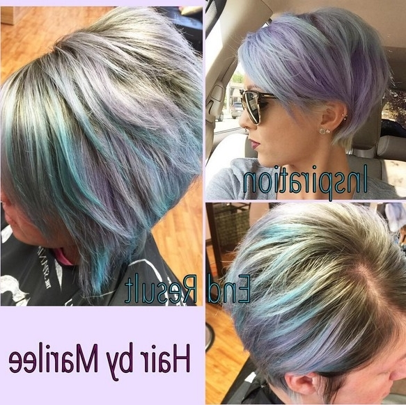 Lavender And Pale Blue With A Darker Base – Popular Haircuts Inside Most Recently Lavender Pixie Bob Hairstyles (View 5 of 25)