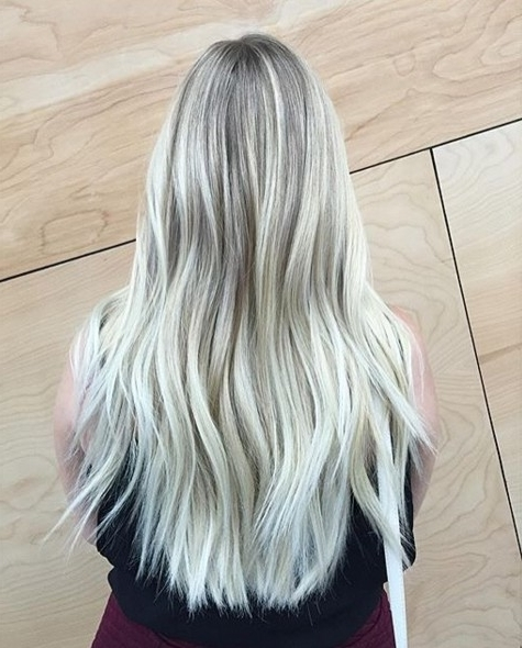 Layered Long Hairstyle – Light To White Blonde – Popular Haircuts Throughout Long Blonde Bob Hairstyles In Silver White (View 8 of 25)