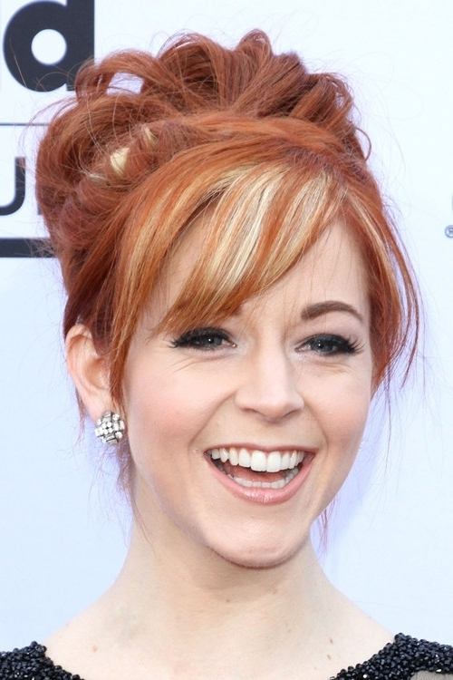 Lindsey Stirling's Hairstyles & Hair Colors | Steal Her Style Inside High Braided Pony Hairstyles With Peek A Boo Bangs (View 19 of 25)