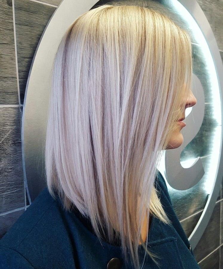 Lob, Long, Bob, Platinum Blonde, Icy Blonde, Lowlights, Aloxxi Regarding Ice Blonde Lob Hairstyles (View 5 of 25)