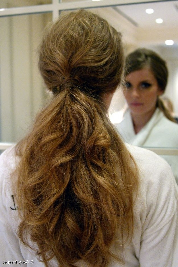 Long And Medium Hairstyles: Messy Ponytails Intended For Mid Length Wavy Messy Ponytail Hairstyles (View 6 of 25)