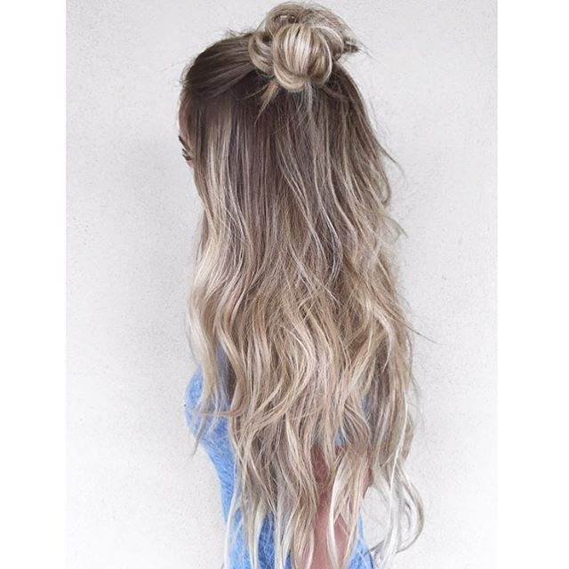Long Ash Blonde Hair With Half Up Topknot | Ash Blonde Hairstyles Regarding Ash Blonde Half Up Hairstyles (View 18 of 25)