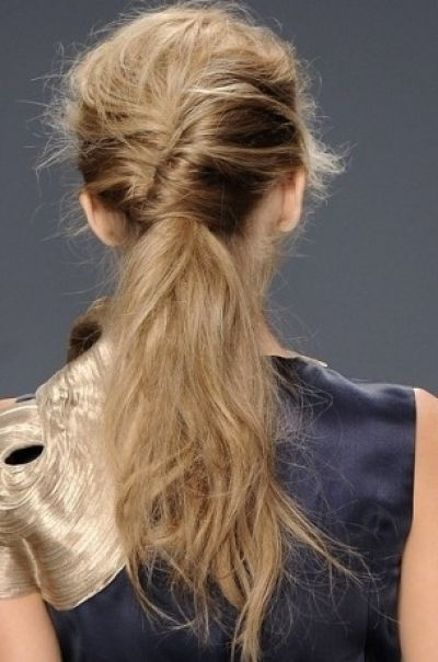 Long Beautiful Ultra Messy Ponytail Hairstyle   Braids, Buns Inside Twisted And Tousled Ponytail Hairstyles (View 18 of 25)