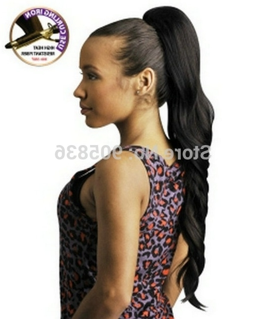 Long Black Wavy Ponytail Hairstyle Sexy And Sleek Clip In High Wrap Within Wavy Ponytail Hairstyles (View 20 of 25)