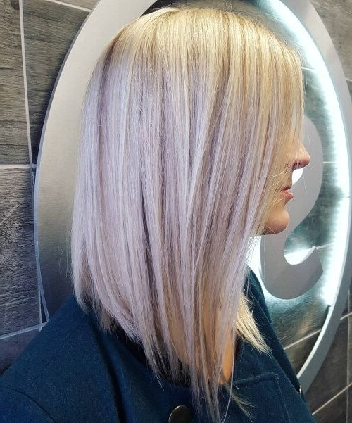 Featured Photo of Long Blonde Bob Hairstyles In Silver White