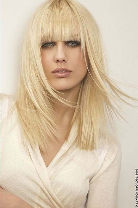 Long Blonde Straight Coloured Modern Layered Womens Haircut Poker For Poker Straight Cool Blonde Style (View 15 of 25)