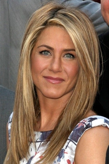 Long Blonde Straight Coloured Multi Tonal Jennifer Aniston Festivals Regarding Poker Straight Cool Blonde Style (View 7 of 25)