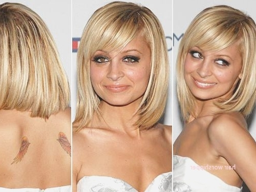 Long Bob Hairstyles With Bangs For Round Faces Elegant Nicole Richie In Blonde Lob Hairstyles With Sweeping Bangs (View 20 of 25)