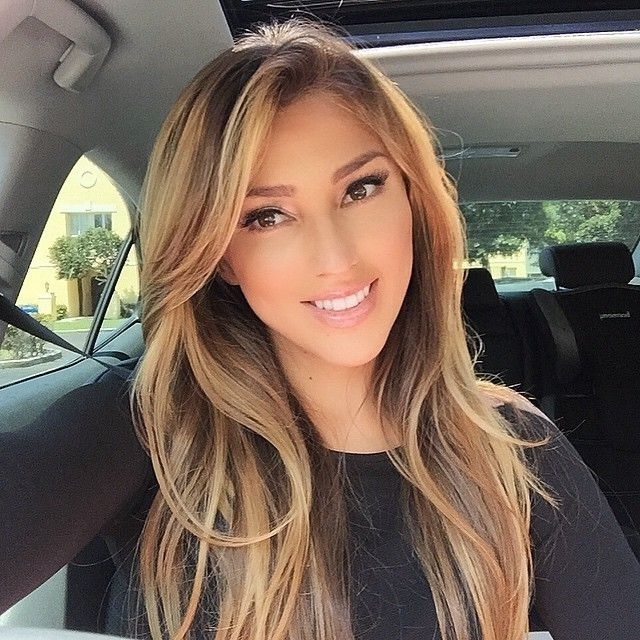 Long Brown Hair With Blond Highlights And Side Swept Bangs | Hair Regarding Side Swept Warm Blonde Hairstyles (View 16 of 25)