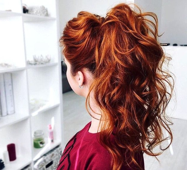 Long Curly Red High Ponytail With Slight Hair Bump | High Ponytails Regarding Hot High Rebellious Ponytail Hairstyles (View 16 of 25)