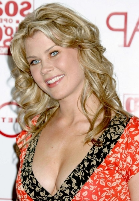 Long Curly Wheat Blonde Summer Party Look – Alison Sweeney Long With Regard To Wheat Blonde Hairstyles (View 22 of 25)
