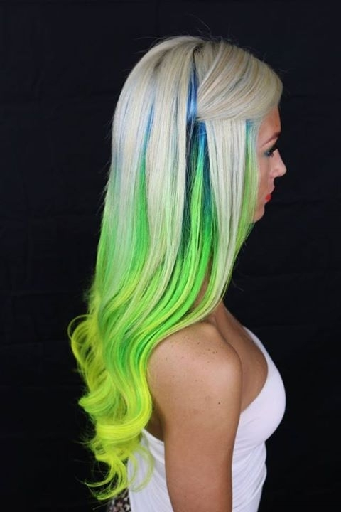 Long, Light Blonde Hairstyle With Green, Blue And Yellow Highlights With Regard To Blonde Hairstyles With Green Highlights (View 24 of 25)