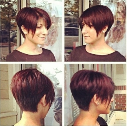 Long Pixie Haircut For Red Hair Intended For Newest Stacked Pixie Bob Hairstyles With Long Bangs (View 18 of 25)