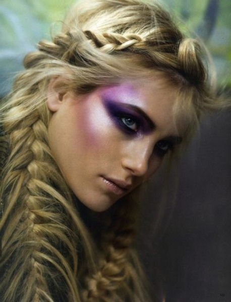 Long Straight Blonde With Messy Fishtail Braids And Wispy Bangs Inside Wispy Fishtail Hairstyles (View 15 of 25)