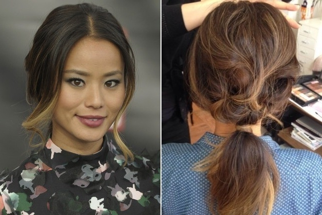 Look To Try Right Now: Jamie Chung's Brigitte Bardot–Inspired Intended For Bardot Pony Hairstyles (View 16 of 25)