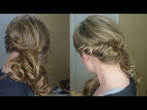Loose Side Swept Curly Hair – Youtube For Side Swept Curly Ponytail Hairstyles (View 15 of 25)