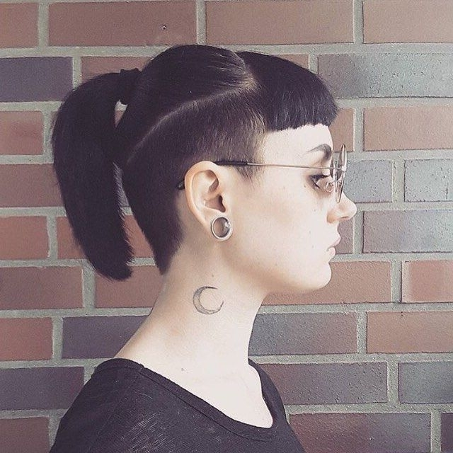 Love This Edgy Undercut And Fringe | Out Of The Box In 2018 With Regard To Pineapple Pony Hairstyles With Whirl Bangs (View 10 of 25)