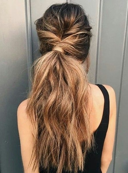 Low Ponytail With A Twist | Everyday Hairstyles Long | Pinterest Throughout Twisted And Tousled Ponytail Hairstyles (View 2 of 25)