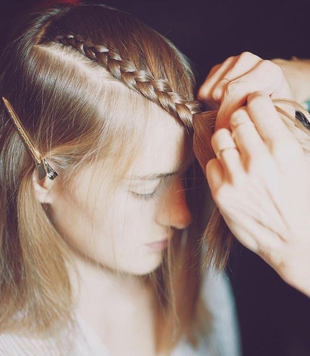 Macramé Inspired Hair@orlandopita @tresemme #hervelegernyfw Within Brunette Macrame Braid Hairstyles (View 17 of 25)