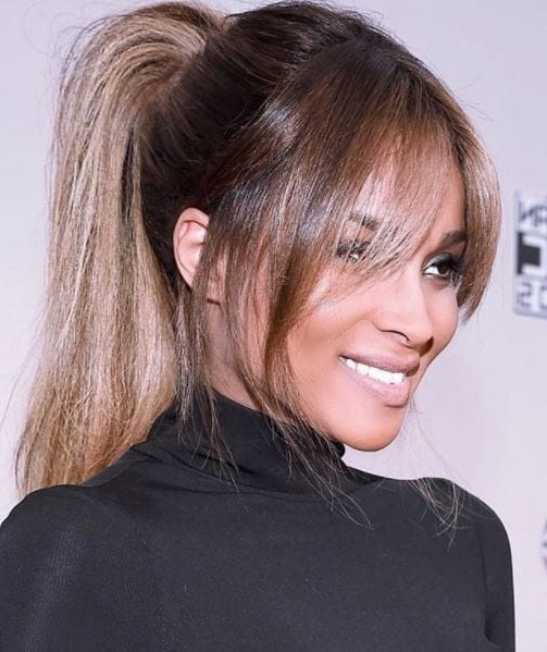 Mane Moments: See Ciara's Amazing Hair Evolution, Here With High Pony Hairstyles With Contrasting Bangs (View 16 of 25)