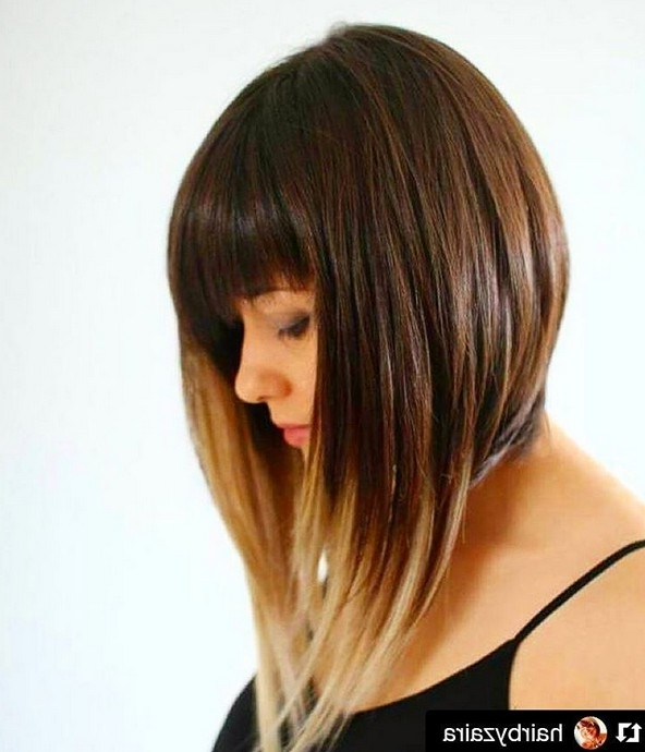 Medium Angled Ombre Bob Hairstyle With Bangs | Haircuts Pertaining To Ombre Ed Blonde Lob Hairstyles (View 23 of 25)