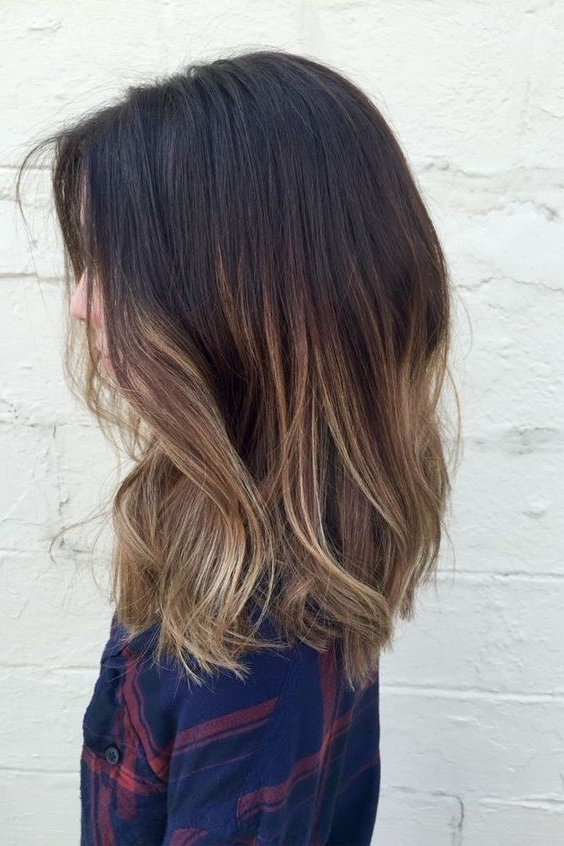 Medium Length Hairstyles With Light Blonde Balayage 2018   Beauty In Dark And Light Contrasting Blonde Lob Hairstyles (View 15 of 25)