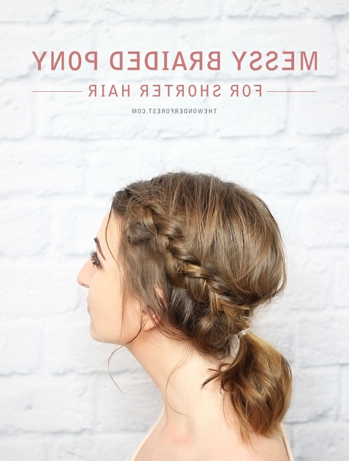 Messy Braided Ponytail For Shorter Hair – Tutorial – Wonder Forest Pertaining To Messy Ponytail Hairstyles With Side Dutch Braid (View 13 of 25)