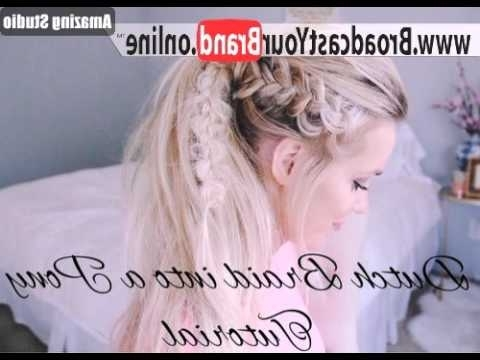 Messy Dutch Braid Ponytail – Youtube Inside Messy Dutch Braid Ponytail Hairstyles (View 18 of 25)