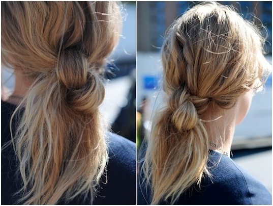 Messy Knotted Ponytail Hairstyle For Medium Length Hair – Fmag Within Knotted Ponytail Hairstyles (View 4 of 25)