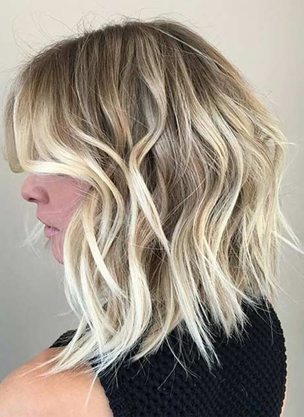Messy Lob Haircut And Ice Blonde Balayage Highlights | Knowledge For Messy Blonde Lob With Lowlights (View 24 of 25)