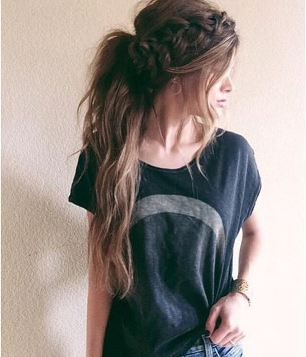 Messy Ponytail With Braid Crow For Long Brown Hair, Simple Pretty Within Ponytail Hairstyles For Brunettes (View 15 of 25)