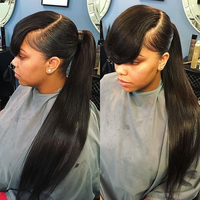 Mid High Ponytail 24In #hairstylistofla #lahairstylist #islay Inside Accessorize Curled Look Ponytail Hairstyles With Bangs (View 8 of 25)
