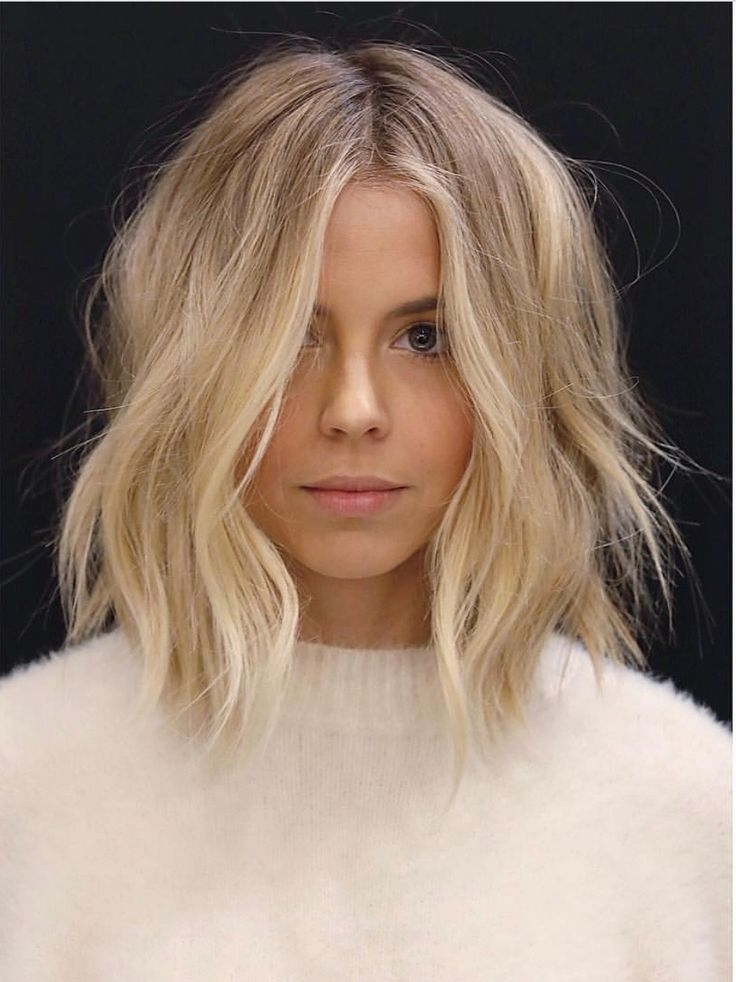 Mid Length Hair With Centre Parting And Waves   Hair Cuts Throughout Blonde Lob Hairstyles With Middle Parting (View 3 of 25)