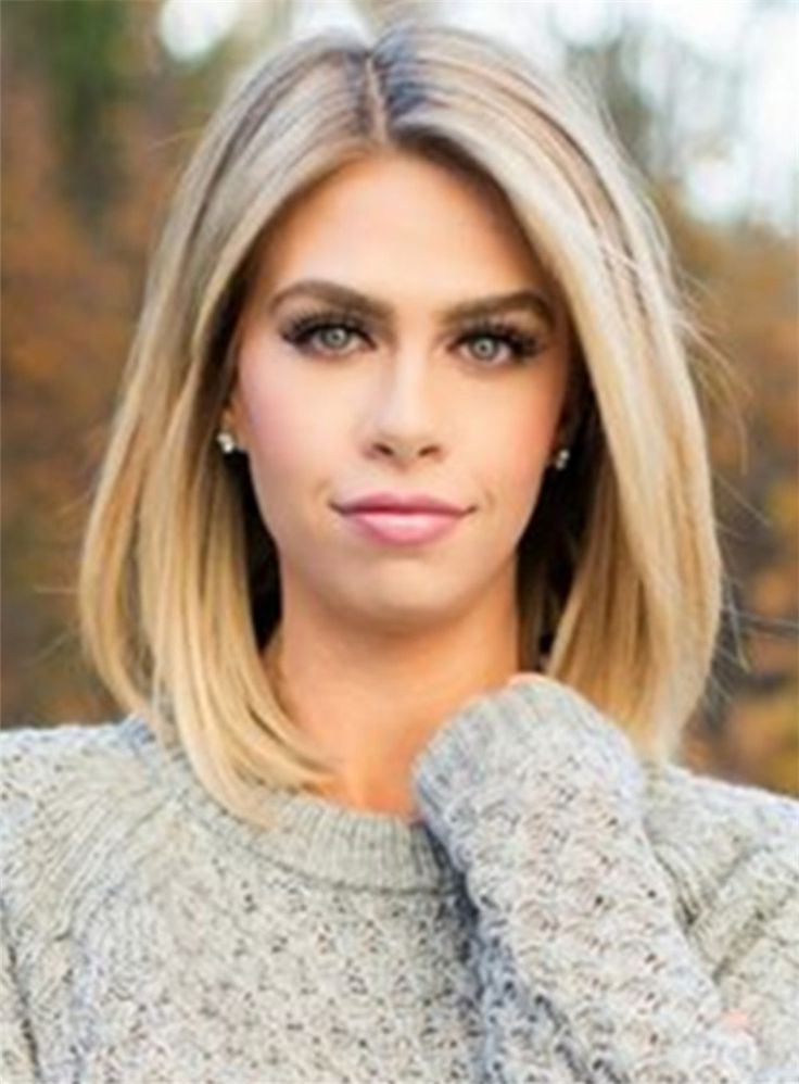 Mid Length Straight Blonde Full Lace Human Hair Wig 12 Inches | Lace Intended For Poker Straight Cool Blonde Style (View 12 of 25)