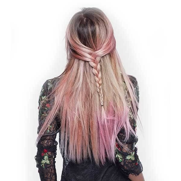 Millennial Pink Hair Dye: Pretty In Pink In Braided Millennial Pink Pony Hairstyles (View 24 of 25)