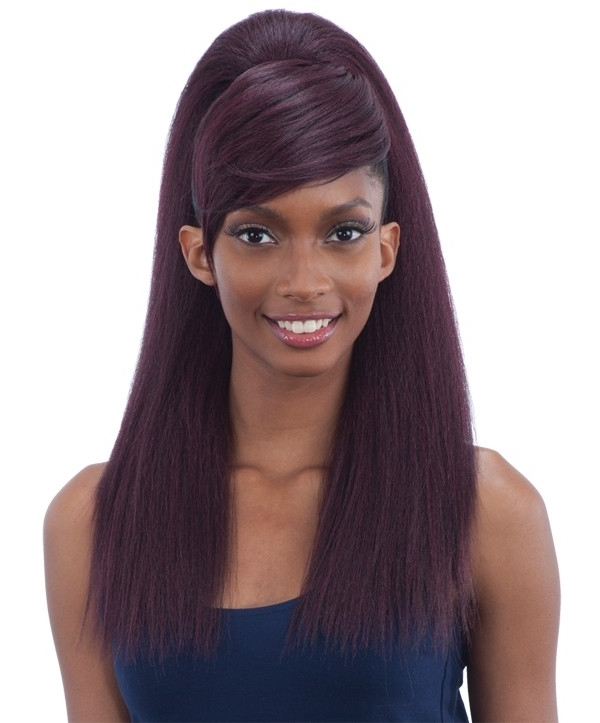 Model Model Ponytail And Swoop Side Bang Yaky Straight 2Pcs With Regard To Weaved Polished Pony Hairstyles With Blunt Bangs (View 18 of 25)