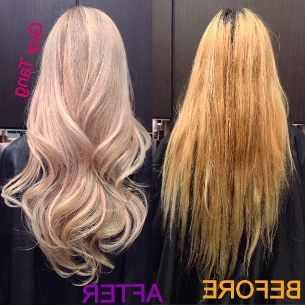 My Client Lynna And Has Thick Asian Hair But Had A Brassy Bleach Job Pertaining To Pearl Blonde Bouncy Waves Hairstyles (View 18 of 25)