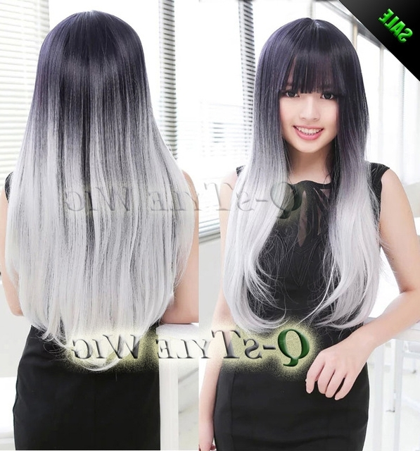 New Arrival Synthetic Wig, Two Tone Color Wig Ombre Harajuku Neat Pertaining To Creamy Blonde Waves With Bangs (View 19 of 25)