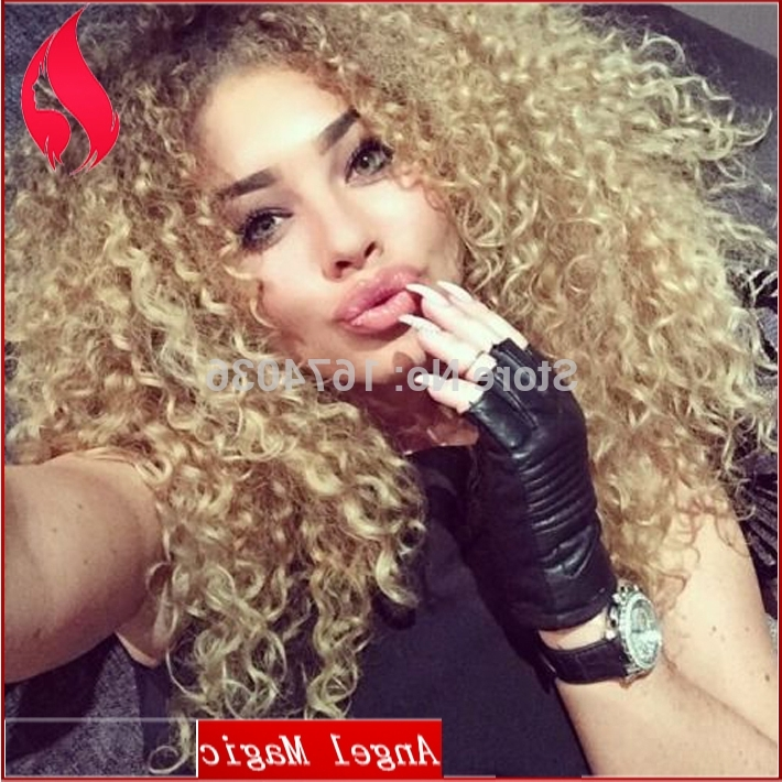 New Fashion On Sale Hot Kinky Curly Brown Blonde Ombre Lace Front Intended For Brown To Blonde Ombre Curls Hairstyles (View 19 of 25)