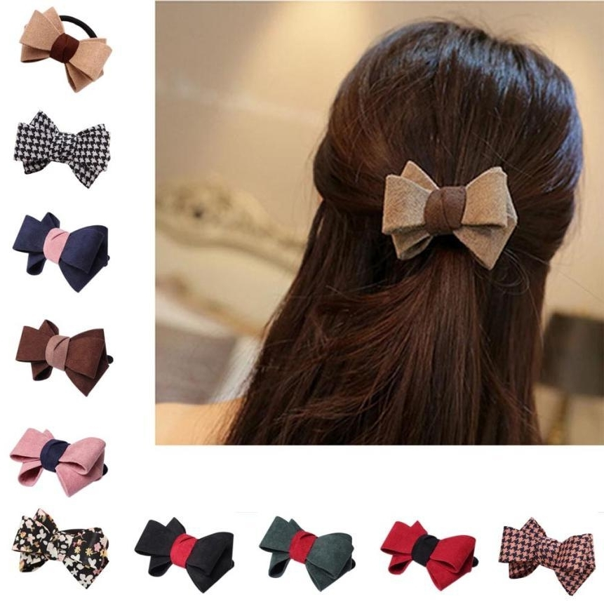 New Pretty Bow Hair Ring Double Rope Elastic Tie Ponytail Holder Regarding Double Tied Pony Hairstyles (View 17 of 25)