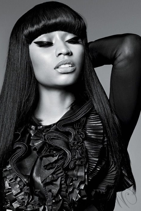 Nicki Minaj Black Hair With Full Bangs Long Straight Synthetic Hair with regard to Minaj Pony Hairstyles With Arched Bangs