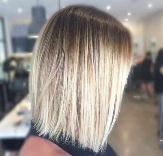 Ombre Blonde Medium Length Hairstyles For Thin Hair | .hair for Tousled Shoulder-Length Ombre Blonde Hairstyles