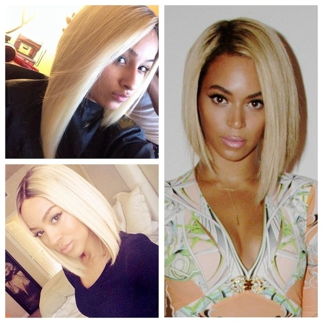 Ombre Blonde Short Bob Hair Lace Front Wig Black Root To 613# Blonde In Rooty Long Bob Blonde Hairstyles (View 12 of 25)