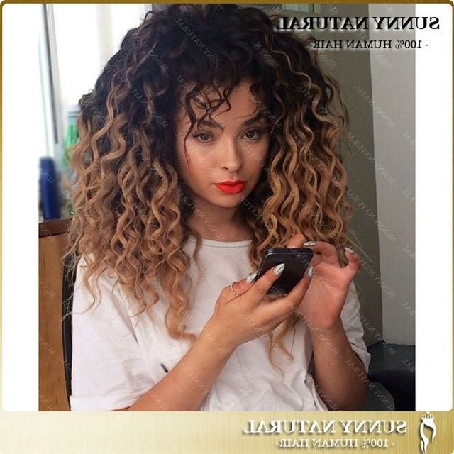 Ombre Curly Human Hair Wig Honey Blonde Ombre Glueless Full Lace Throughout Dark Roots Blonde Hairstyles With Honey Highlights (View 22 of 25)