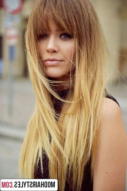Ombre Hairstyles And Stylish Ombre Color Ideas In Bi Color Blonde With Bangs (View 22 of 25)